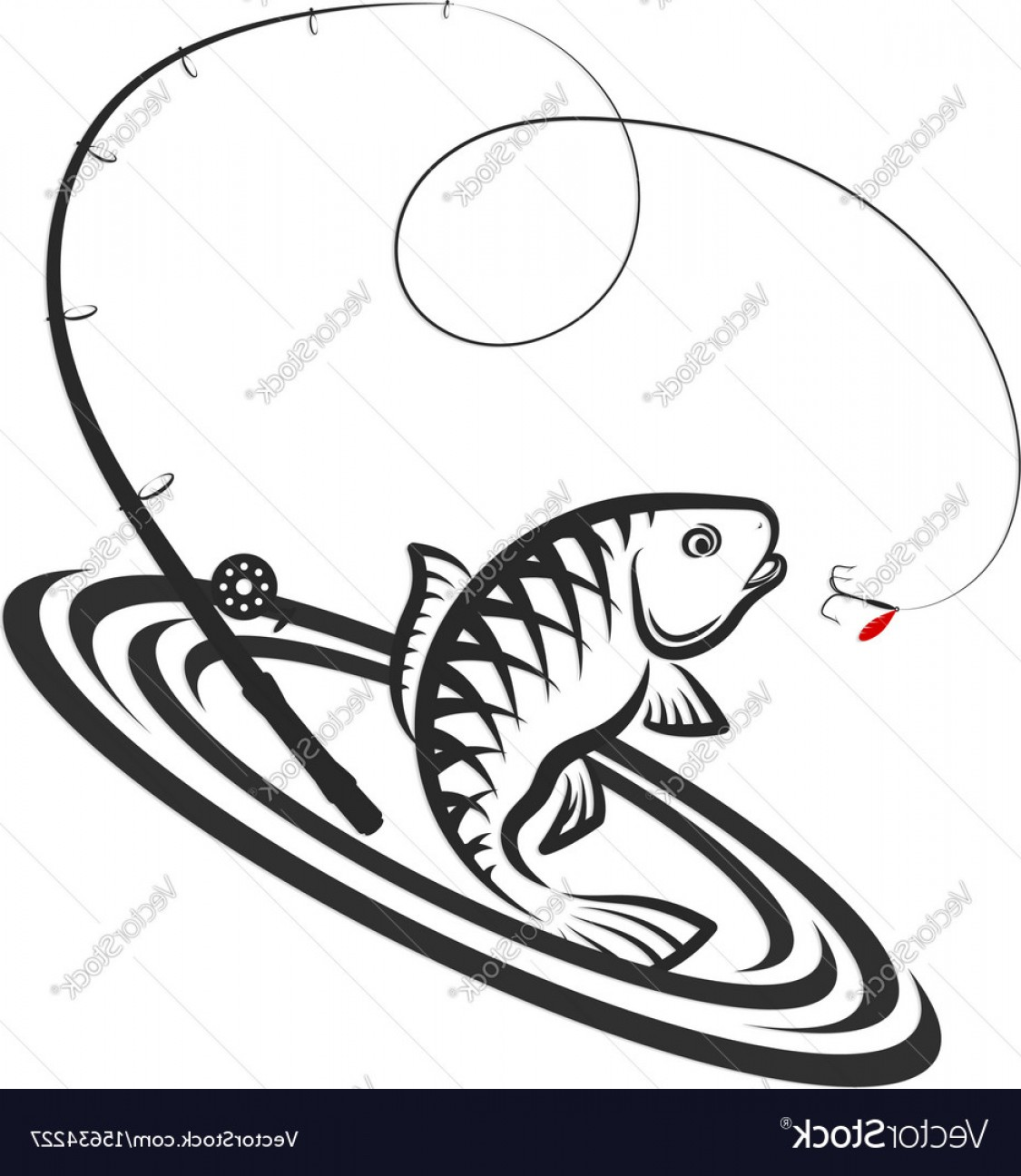 Fishing Pole Silhouette Vector: Fish And Fishing Rod Jumping Silhouette Vector