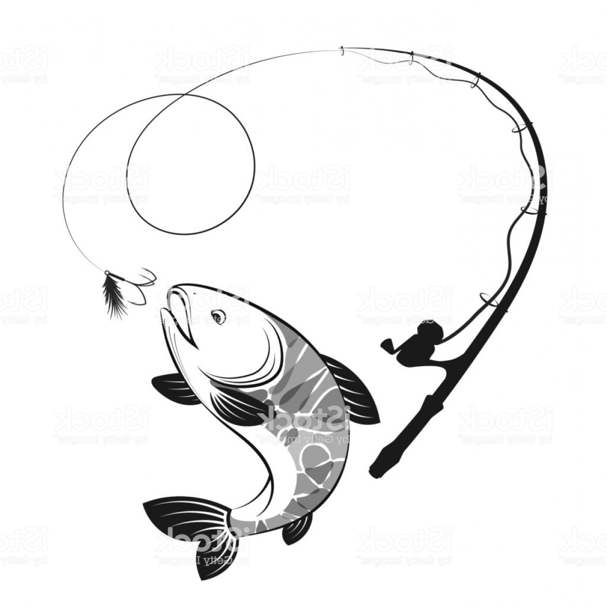 Fishing Pole Silhouette Vector: Fish And Fishing Rod Silhouettes Gm