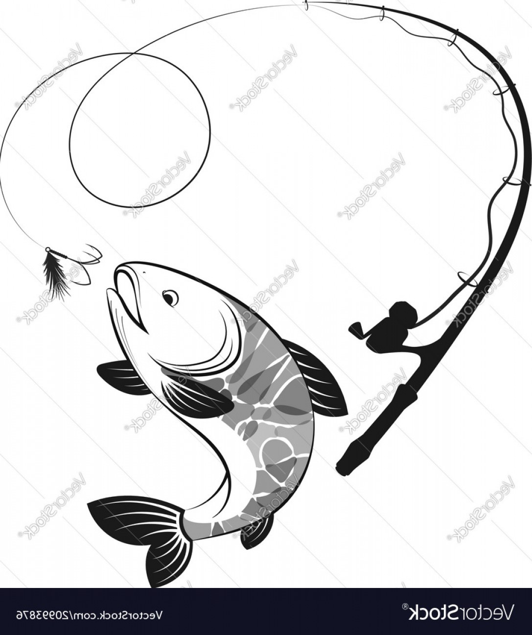 Fishing Pole Silhouette Vector: Fish And Fishing Rod Silhouettes Vector
