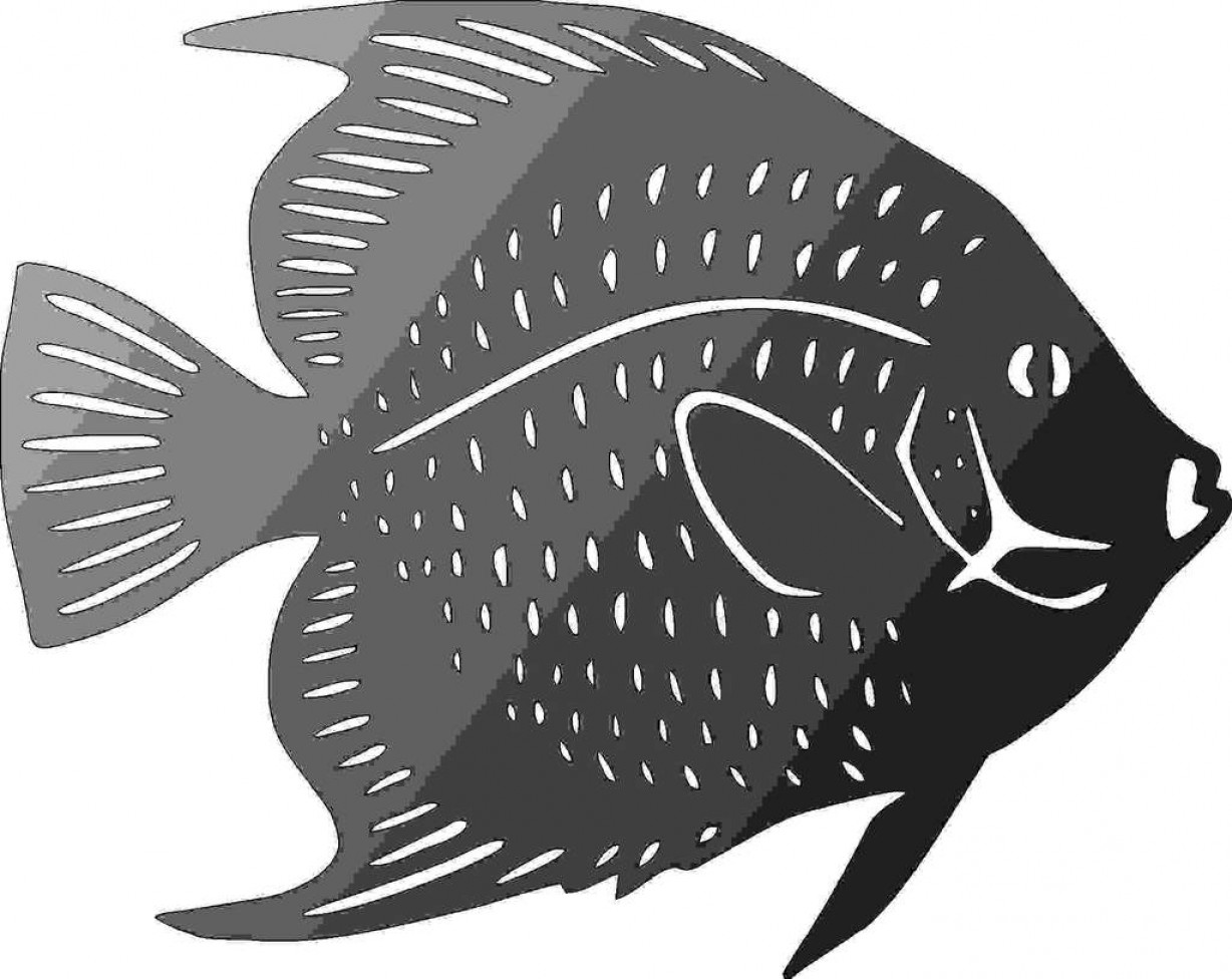 Plasma Art Fishing Vector Files: Fish Design Dxf Of Plasma Router Laser Cut Cnc Vector Dxf Cdr Ai Jpeg