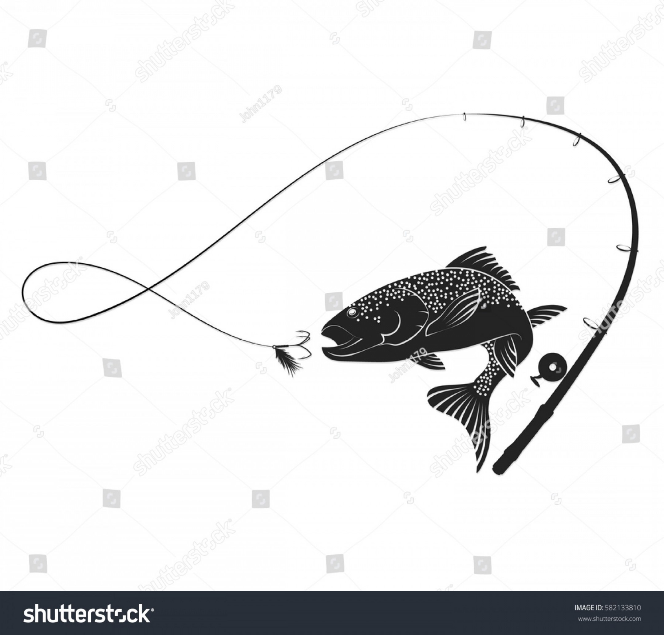 Detailed Vector Art Fly Fisherman: Fish Jumping Bait Fishing Rod Silhouette