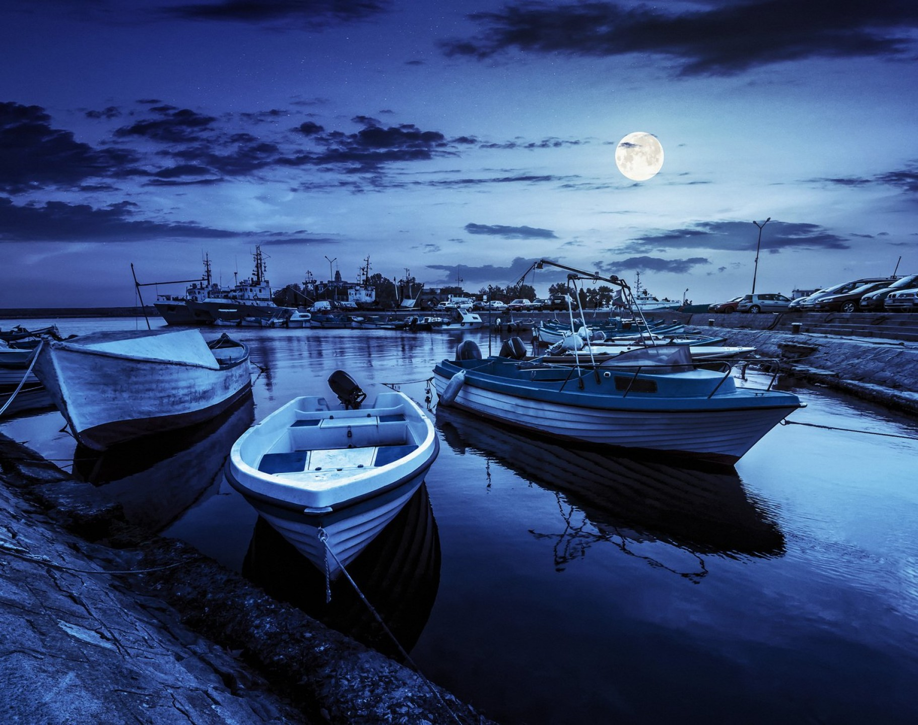 Vector Art Shrimper: Fishing Boats In Port Of Sozopol At Night