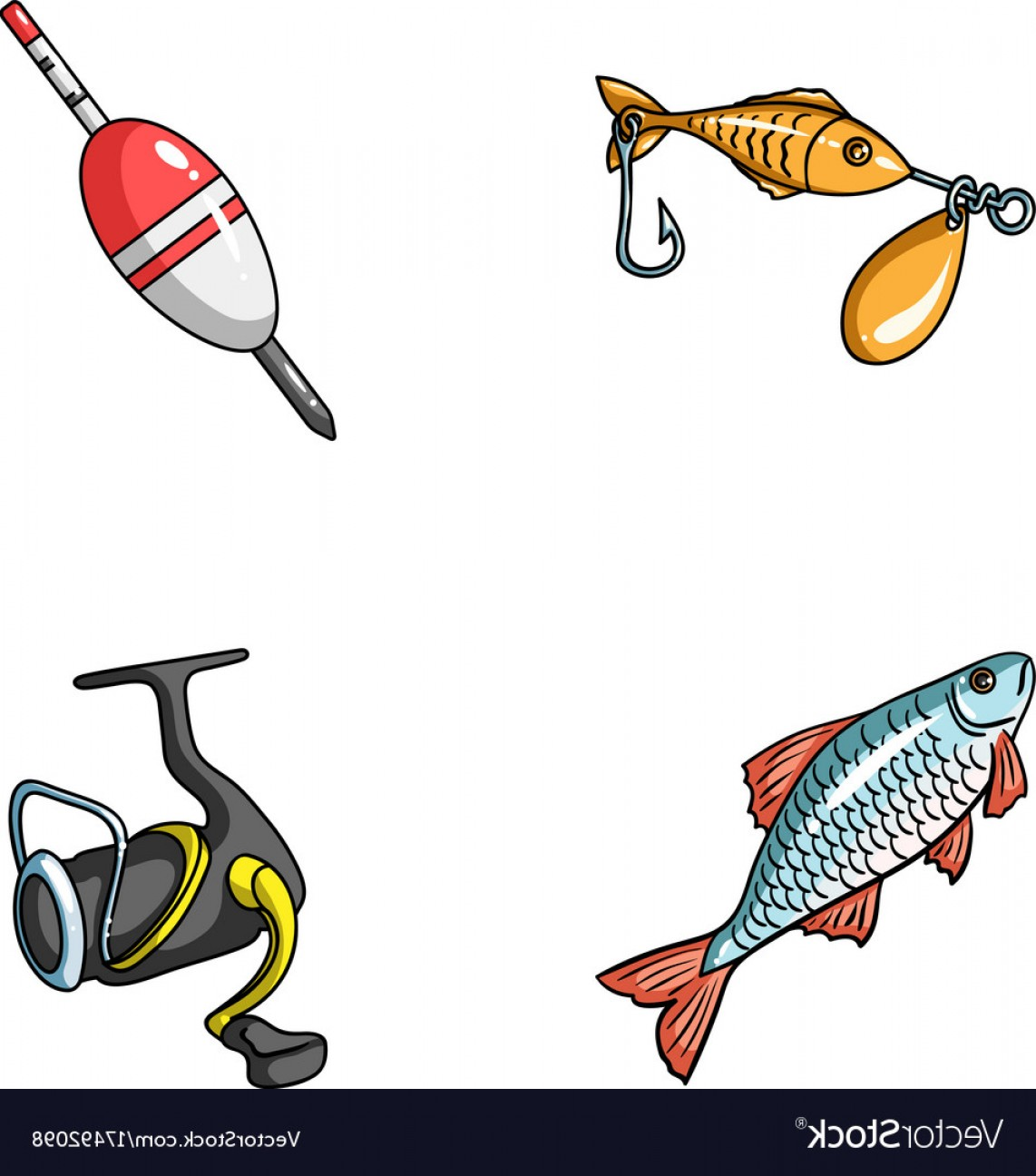 Catching Fish Hook Vector Art: Fishing Fish Catch Hook Fishing Set Collection Vector