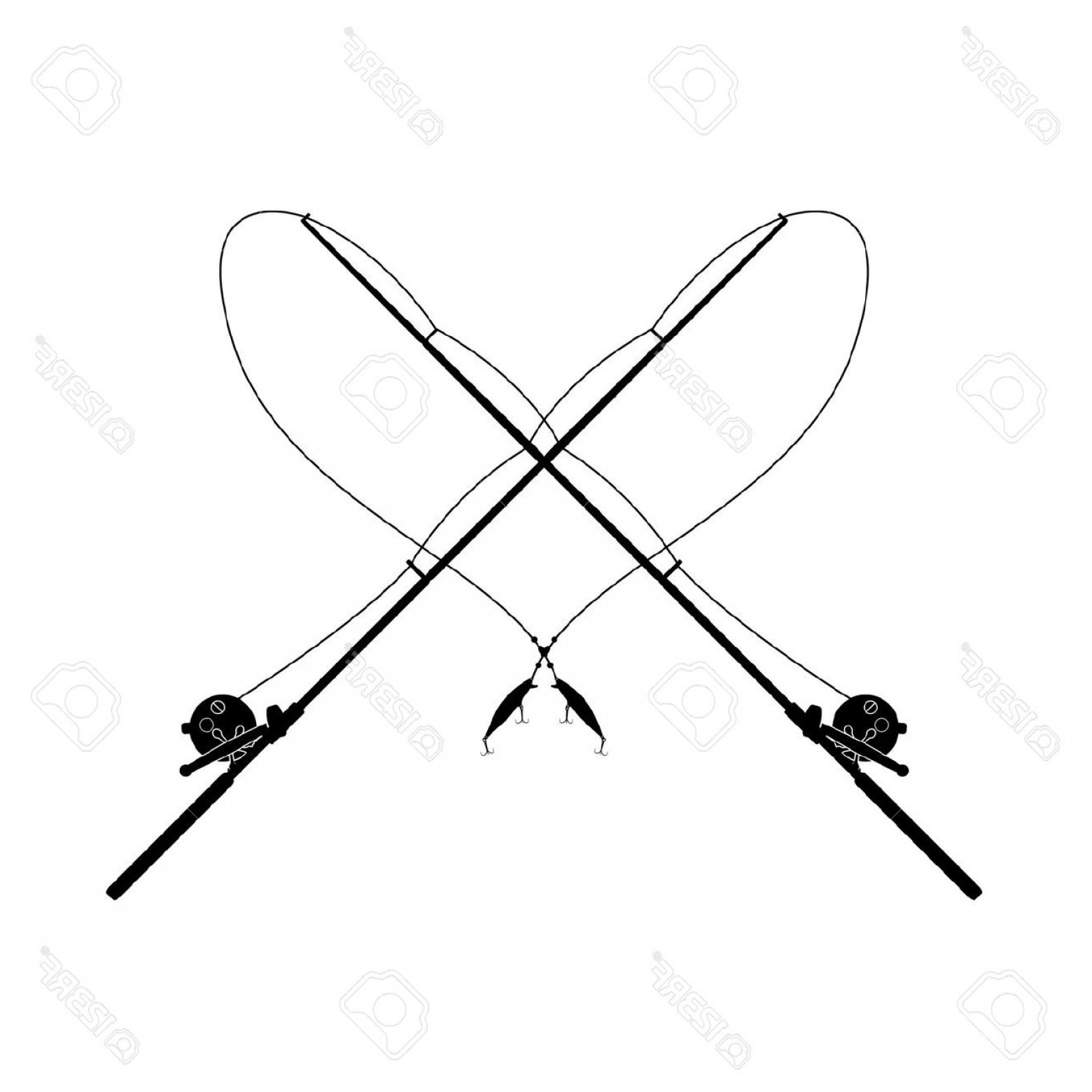 Fishing Pole Silhouette Vector: Fishing Pole Clipart Black And White