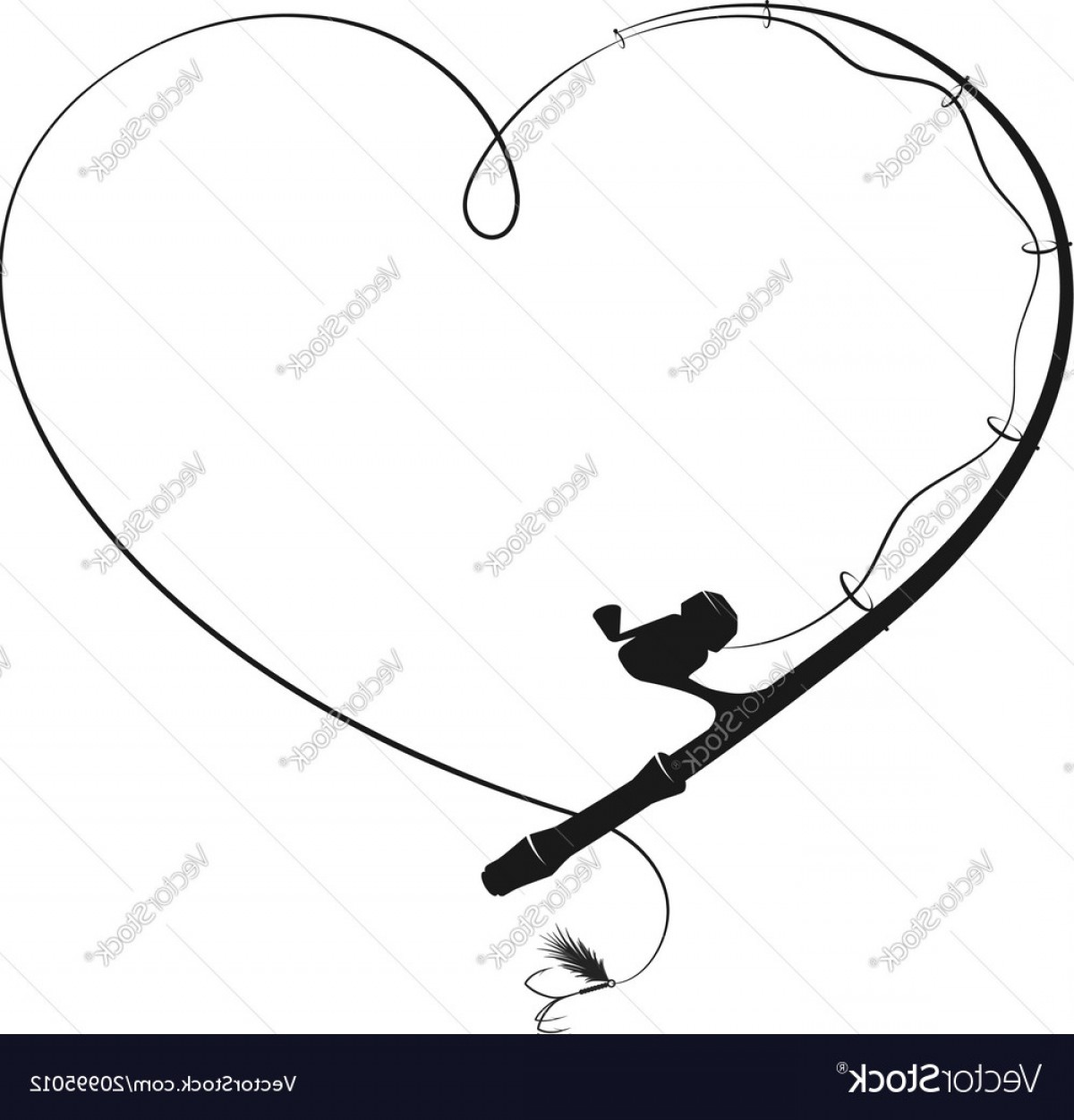 Fishing Pole Silhouette Vector: Fishing Rod In The Form Of Heart Vector
