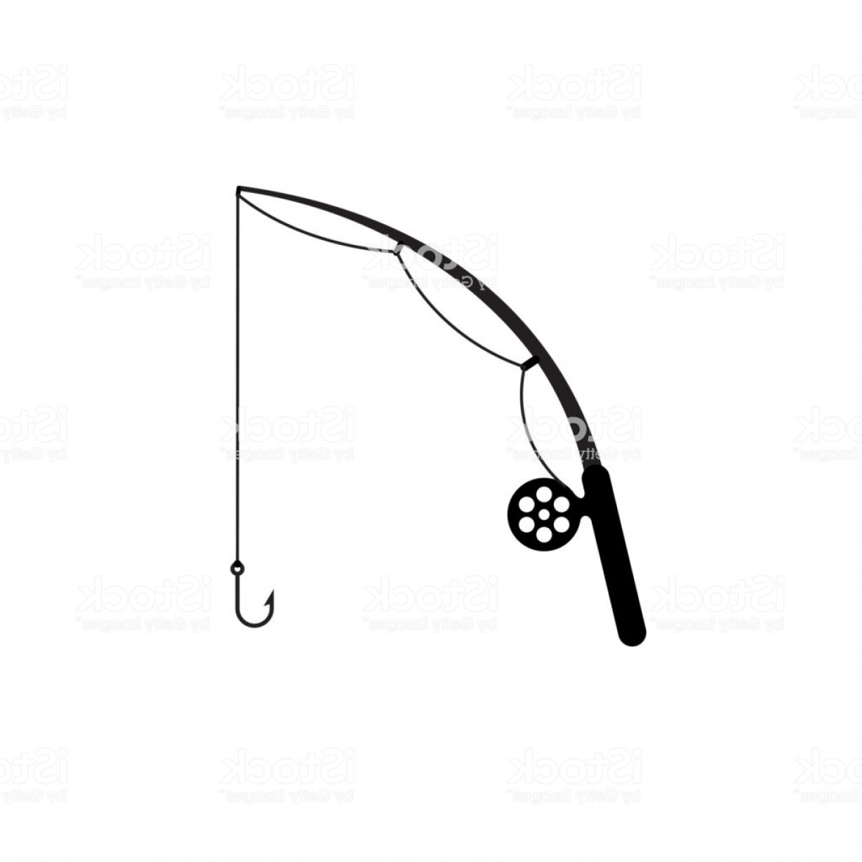 Rod And Reel Vectors: Fishing Rod Simple Silhouette Icon Gm