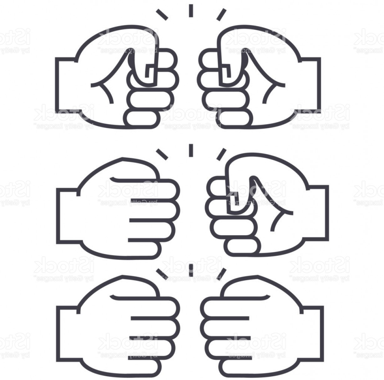 Emoji Fist Bump Vector Graphic: Fist Bump Vector Line Icon Sign Illustration On Background Editable Strokes Gm