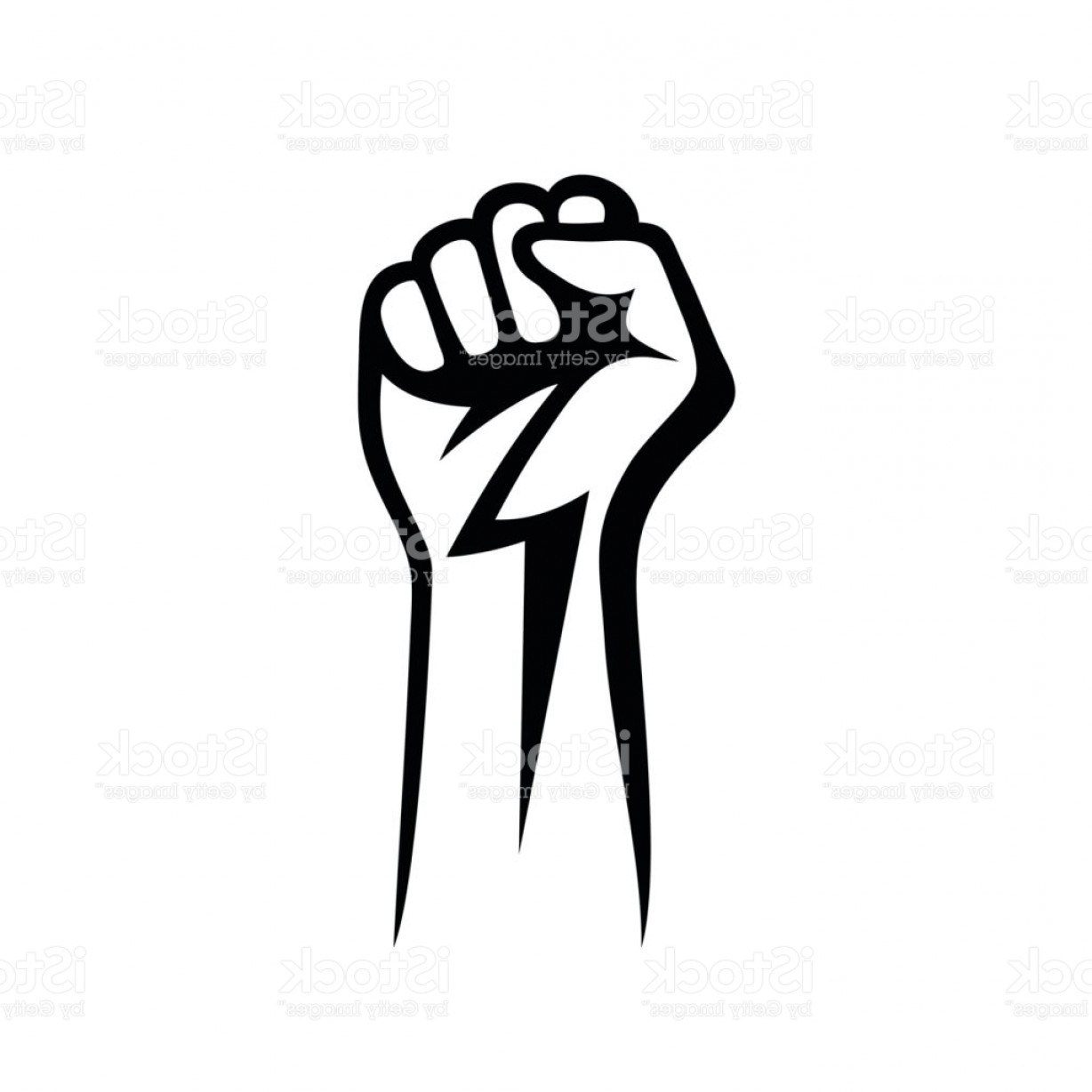 Black Power Fist Vector: Fist Male Hand Proletarian Protest Symbol Power Sign Gm