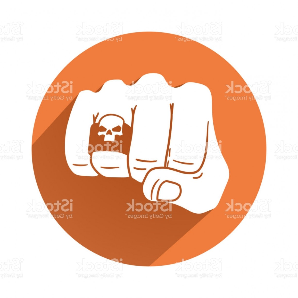 Hand With Ring Silhouette Vector: Fist With Skull Ring Symbol Gm