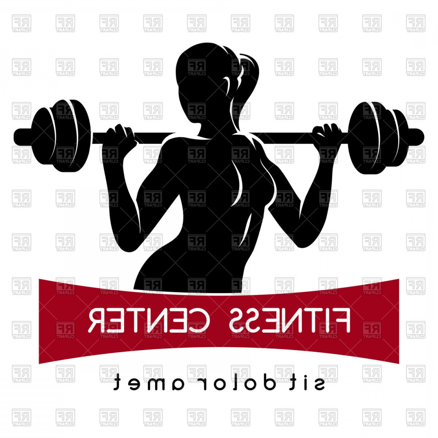 Weightlifter Vector Art: Fitness Center Or Gym Emblem Woman With Barbell Vector Clipart