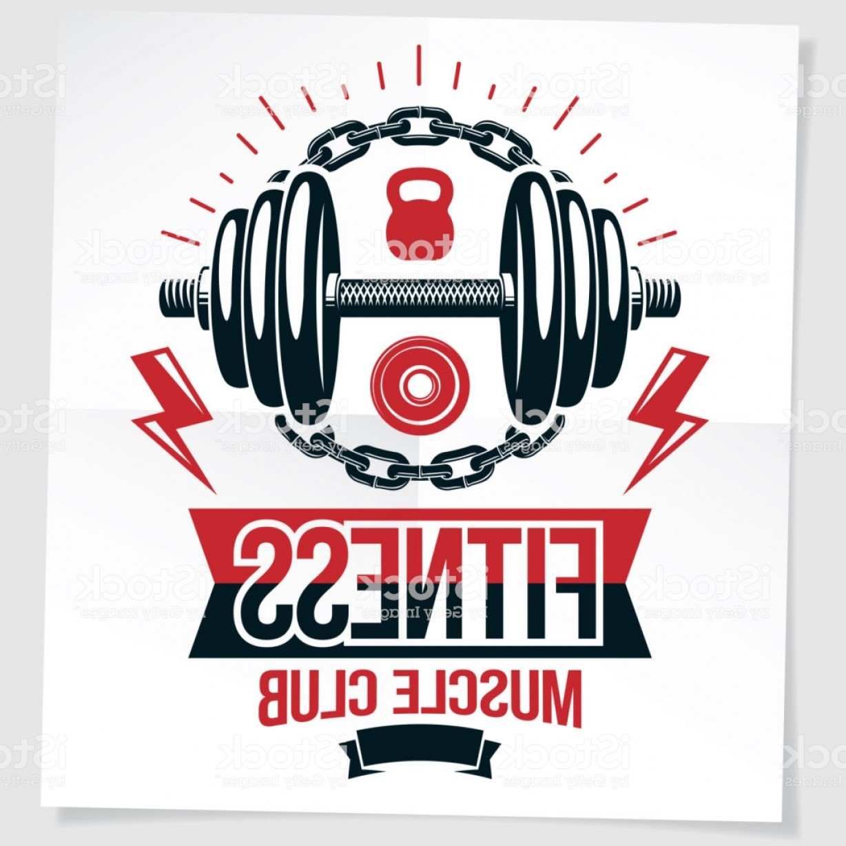 Vector Marketing.com: Fitness Center Vector Marketing Banner Made Using Disc Weight Dumbbell And Kettle Gm