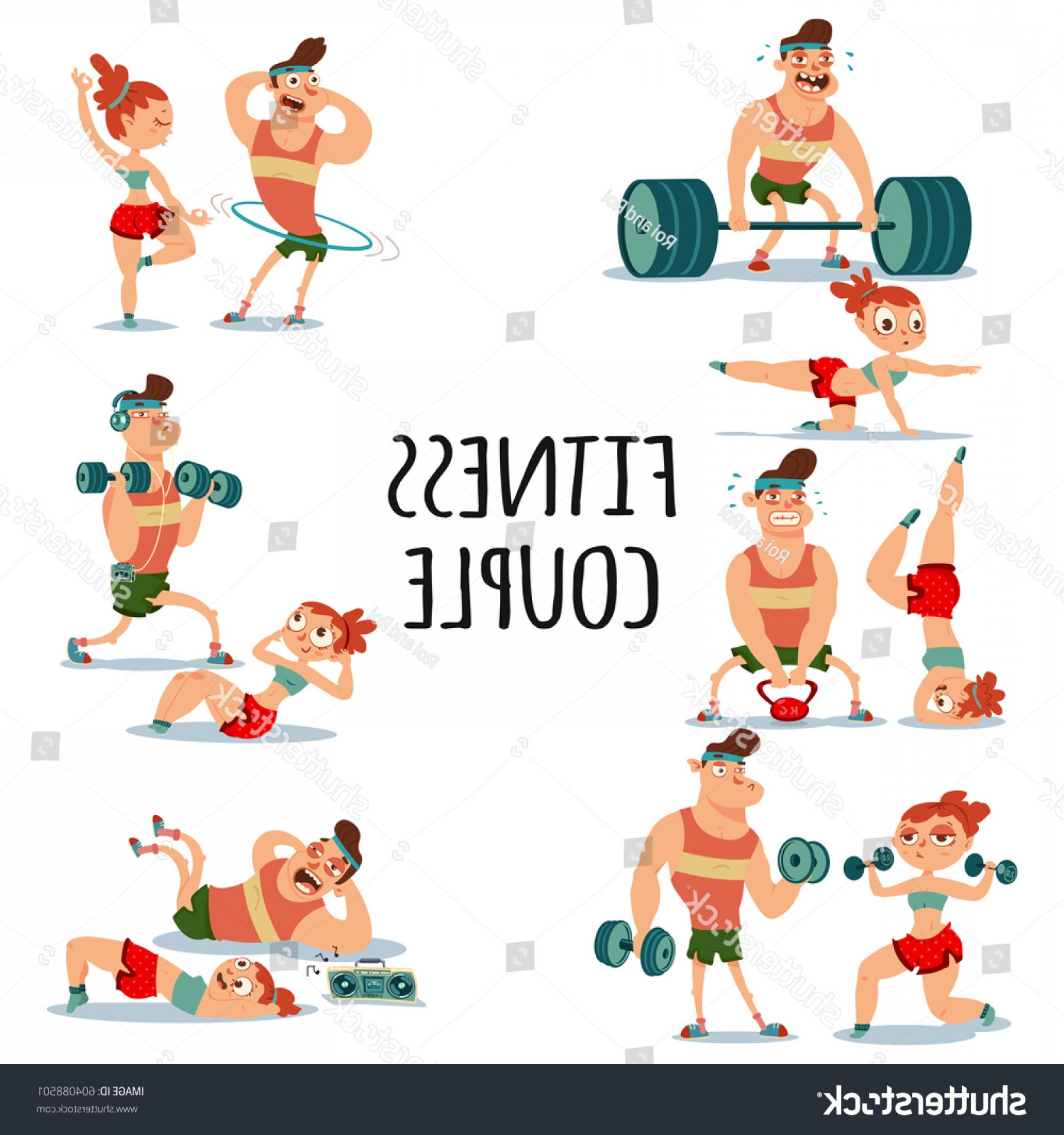 Man Vector Exercise: Fitness Couple Man Woman Doing Exercise
