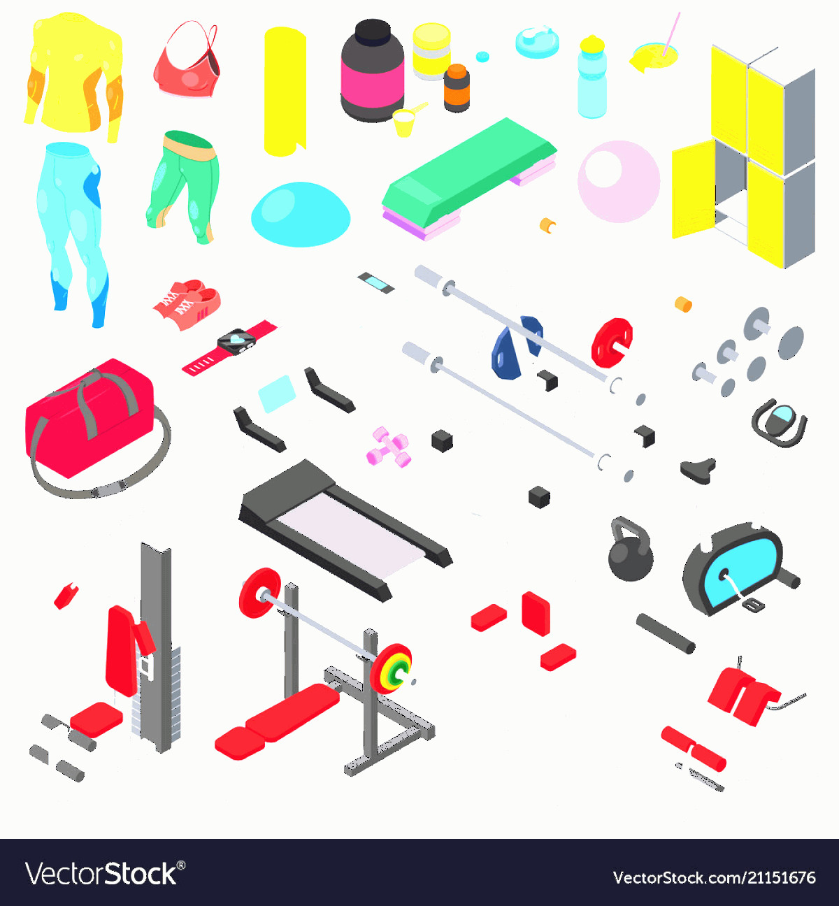 Vector Gym Equipment: Fitness Equipment Gym Machine For Doing Vector