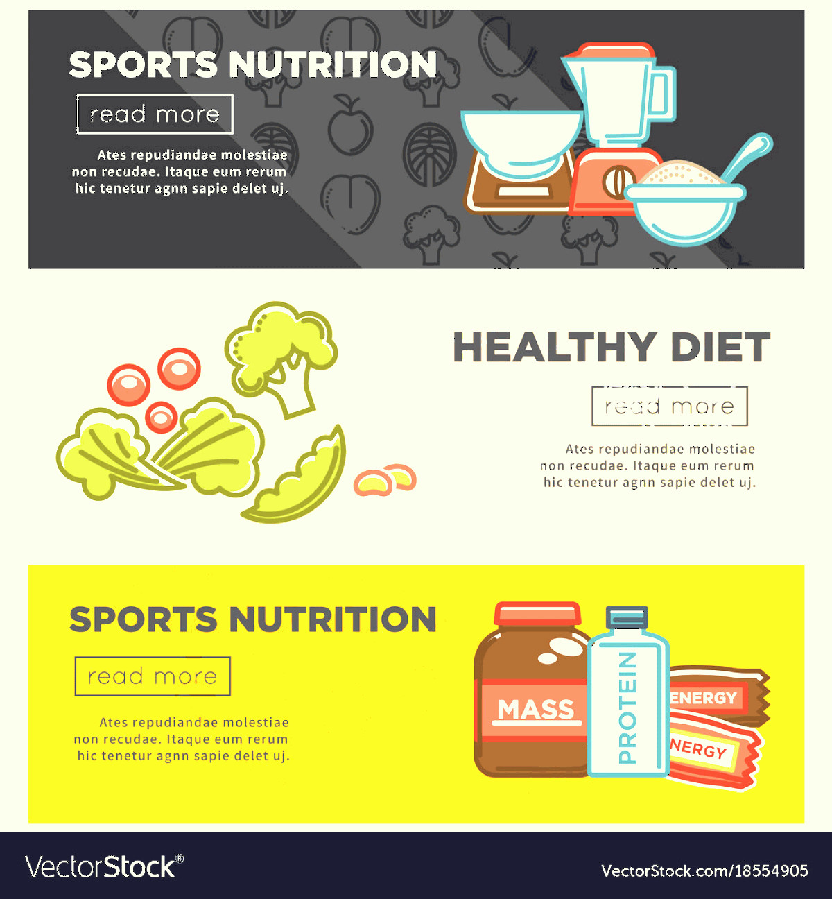 Vector Cereal Nutrition: Fitness Food And Sports Healthy Diet Nutrition Vector