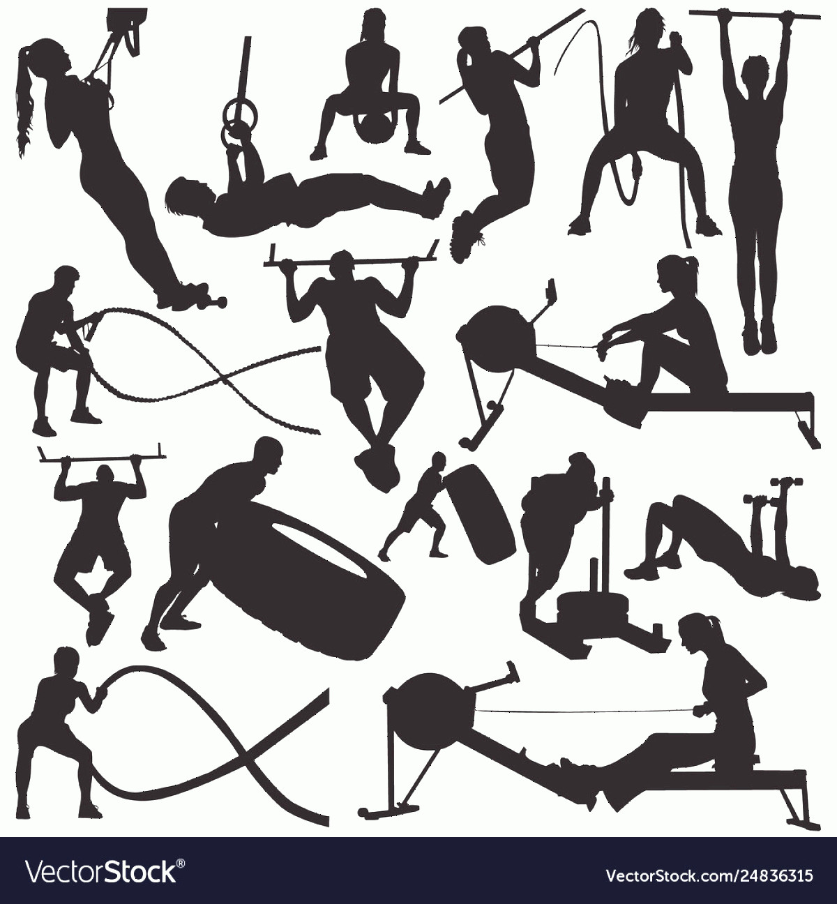 Vector Gym Equipment: Fitness Gym Equipment Silhouettes Vector
