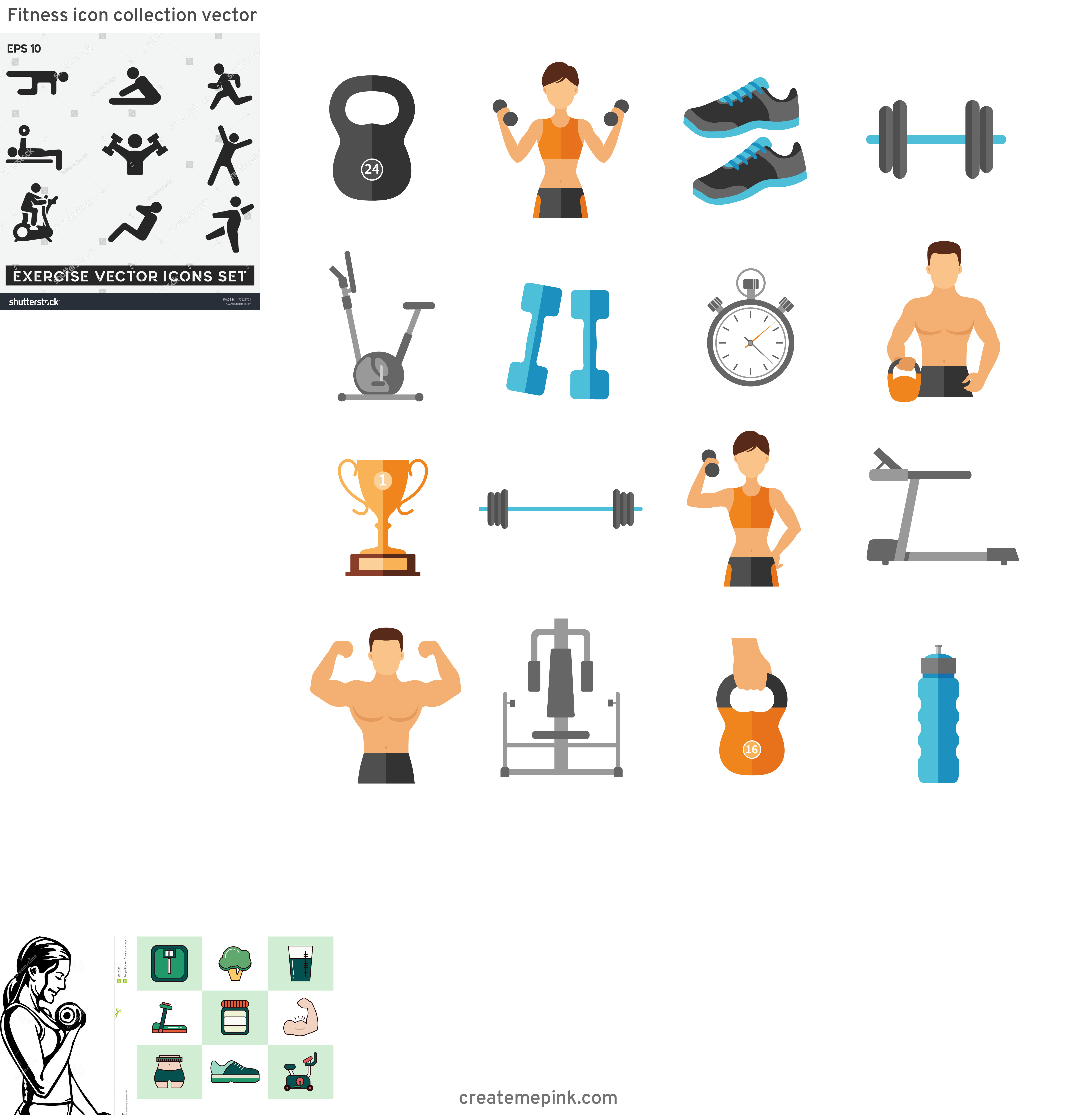 Fitness Vector Art: Fitness Icon Collection Vector