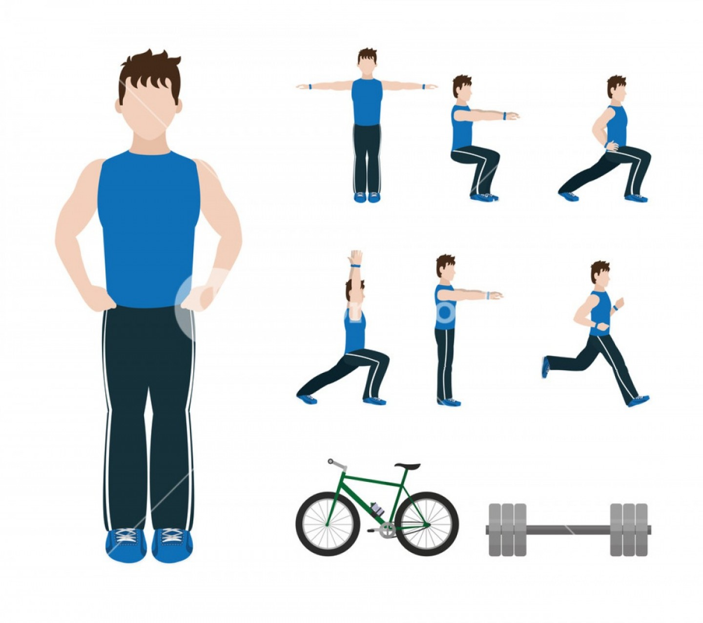Man Vector Exercise: Fitness Man Doing Exercise And Stretching Vector Illustration Graphic Design Hnzkhvdpfjgskix