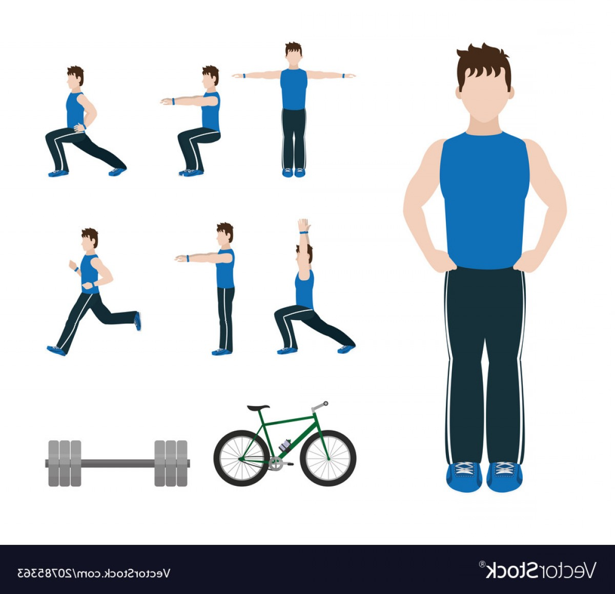 Man Vector Exercise: Fitness Man Doing Exercise Vector