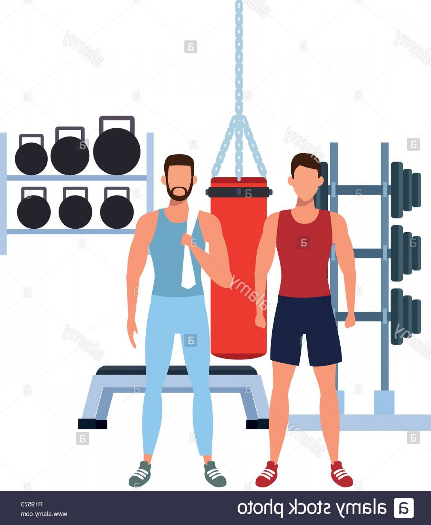 Weight Lifting Vector Graphics: Fitness Men Training Box And Weight Lifting Vector Illustration Graphic Design Image