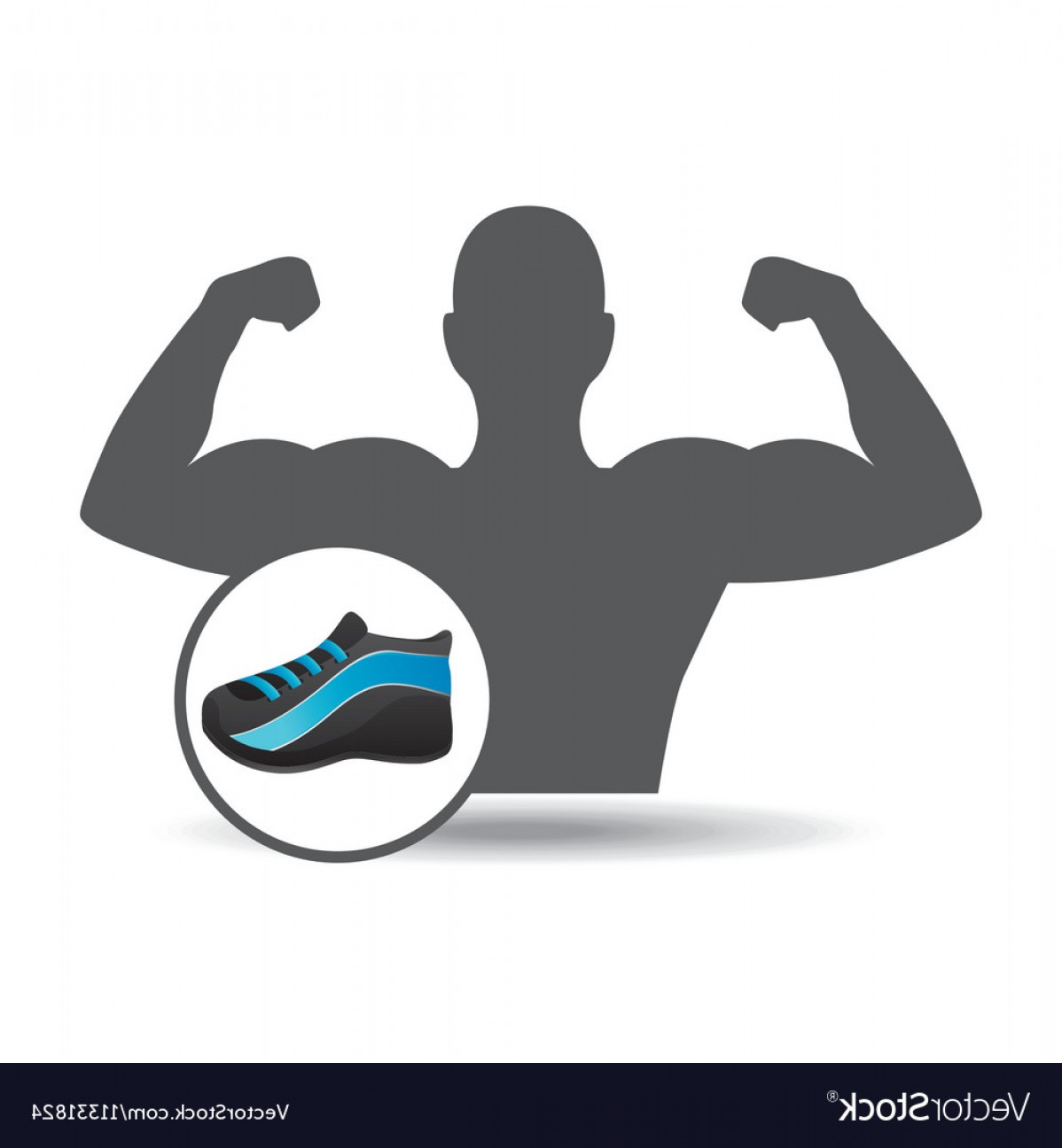 Sneaker Silhouette Vector: Fitness Silhouette Sneaker Gym Graphic Vector
