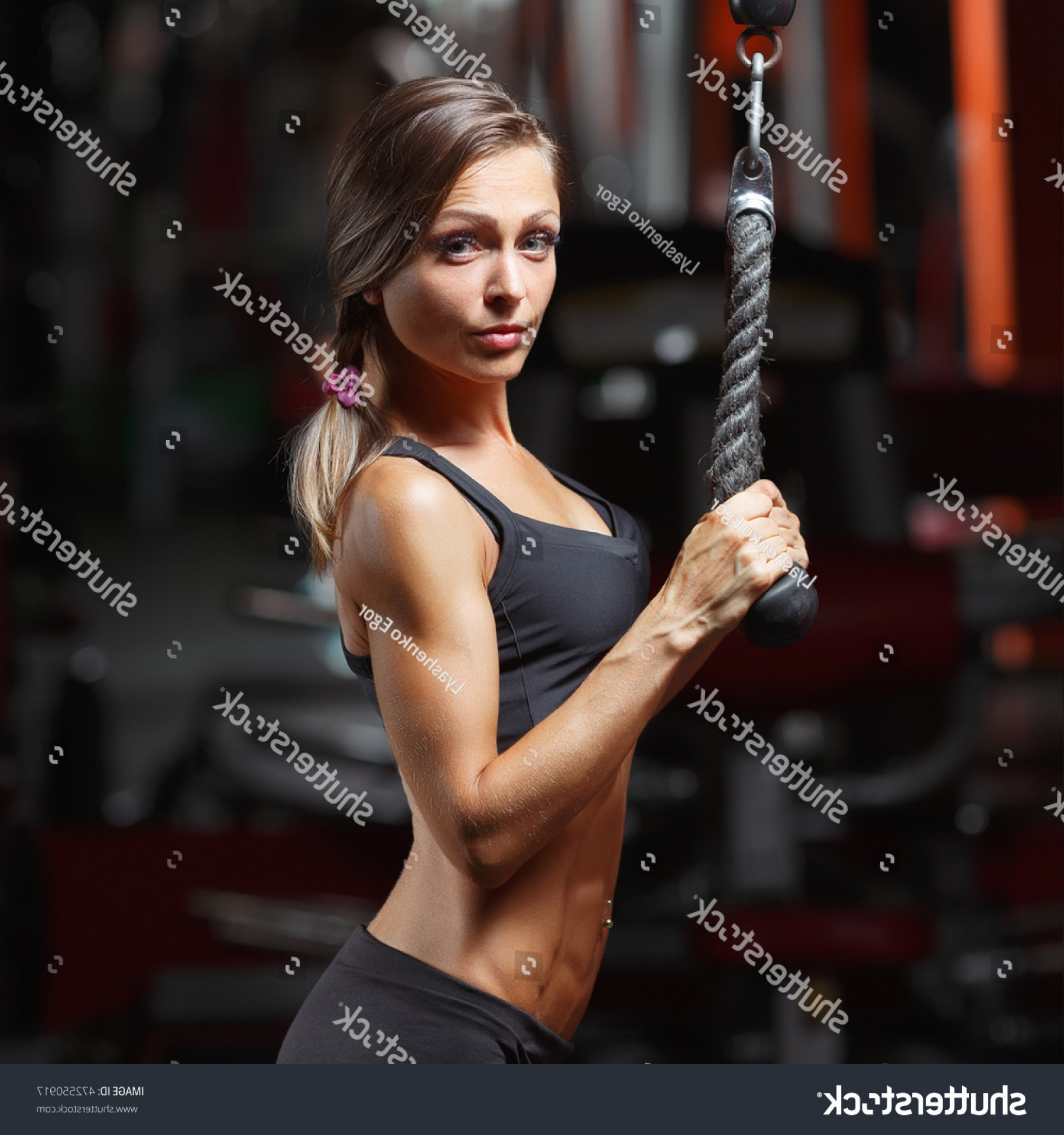 Vector Abstract Woman Bodybuilder Physique: Fitness Woman Gym Young Doing Exercises