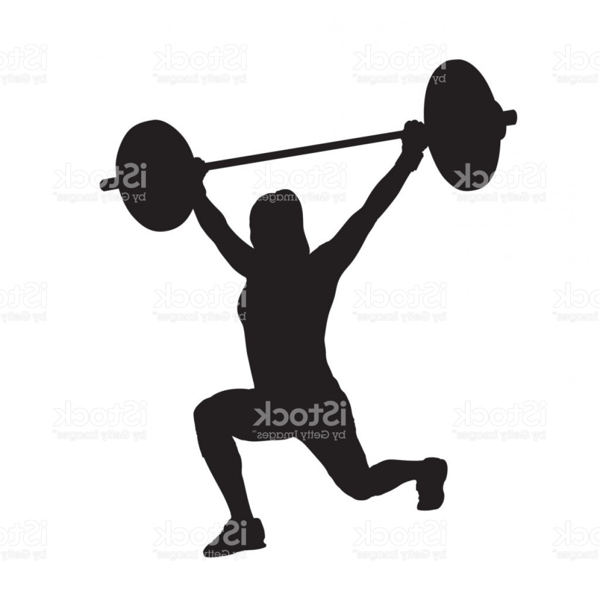 Vector Weight Lifting: Fitness Woman With Barbell Weight Lifting Strength Training Lunge Vector Silhouette Gm