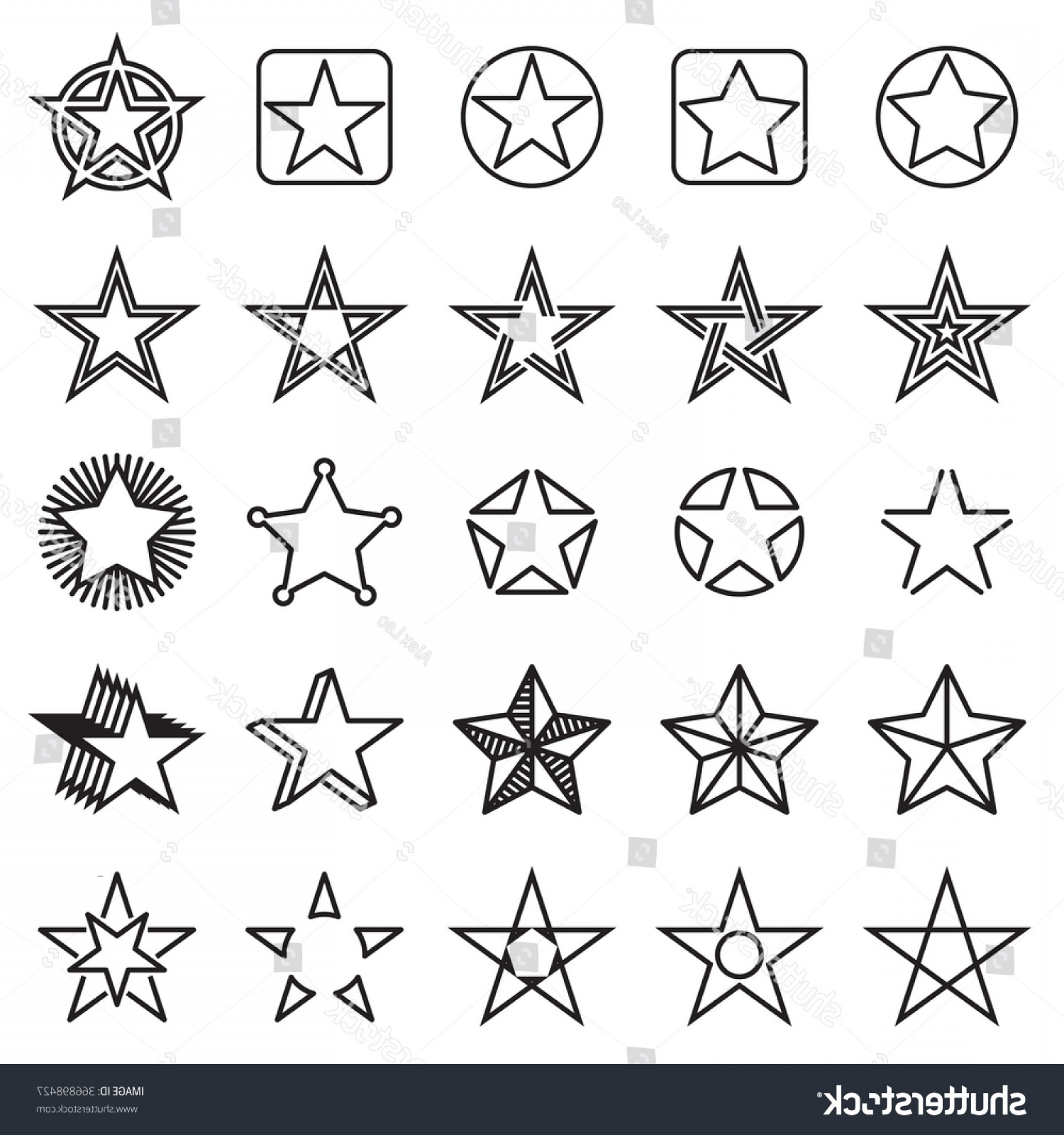 Starburst Icon Vector: Fivepointed Star Icons Collection Linear