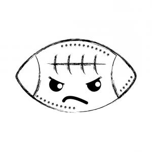 Angry Eyebrow Vector: Figure Angry And Cute American Ball Kawaii Vector Illustration Rhqcjsiemgjbsloeu