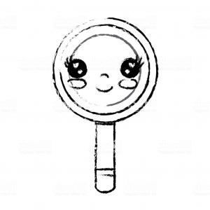 Vector Eyes At Ccute: Figure Kawaii Cute Happy Magnifying Glass Gm