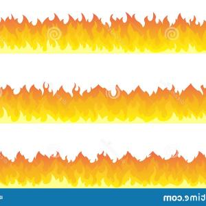 Cartoon Fire Flames Vector: Fire Flame Frame Borders Cartoon Seamless Orange Border Image