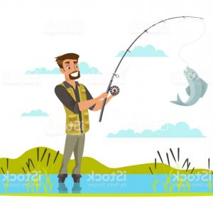 Catching Fish Hook Vector Art: Fisherman Catching Fish On Hook Illustration Gm