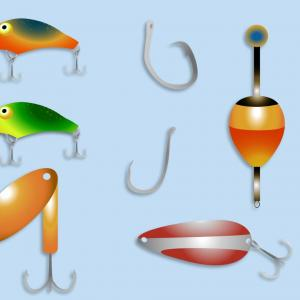 Fishing Bobber Clipart-Vector: Fishing Hook With Float Vector Illustration Black Icon And White Background Image