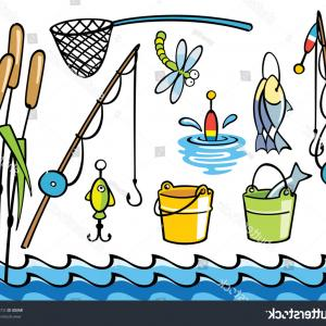 Washer Machine Vector Decal: Fishing Items Set Colorful Vector Illustration