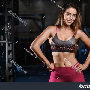 Vector Abstract Woman Bodybuilder Physique: Athletic Fitness Woman Pumping Muscles Dumbbells