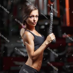 Vector Abstract Woman Bodybuilder Physique: Fitness Woman Pumping Muscles Dumbbells Gym