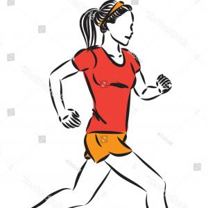 Jogging Vector HD: Fitness Woman Jogging Vector Illustration