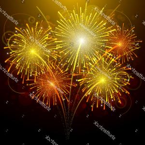 GPL'd Fireworks Vector: Five Amazing Gold Fireworks Vector