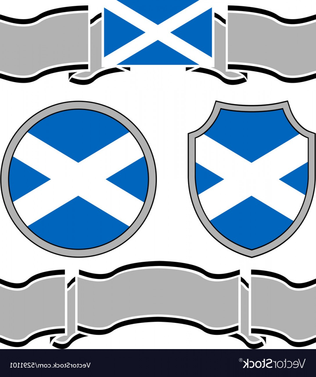 Scotland Heraldic Vector Graphic: Flag Of Scotland With Banners Vector