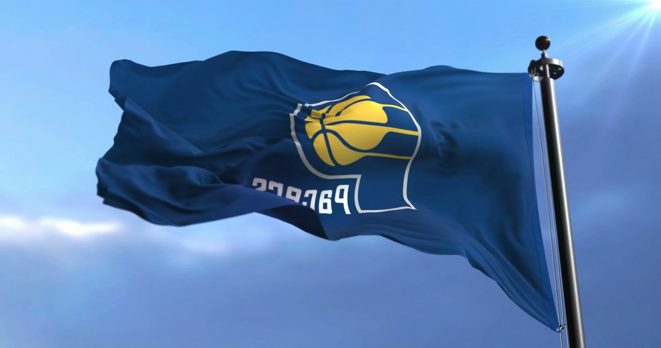 Indiana Pacers Logo Vector: Flag Of The Team Of The Nba Indiana Pacers American Professional Basketball Team Waving At Wind Loop Rhehhqfjce