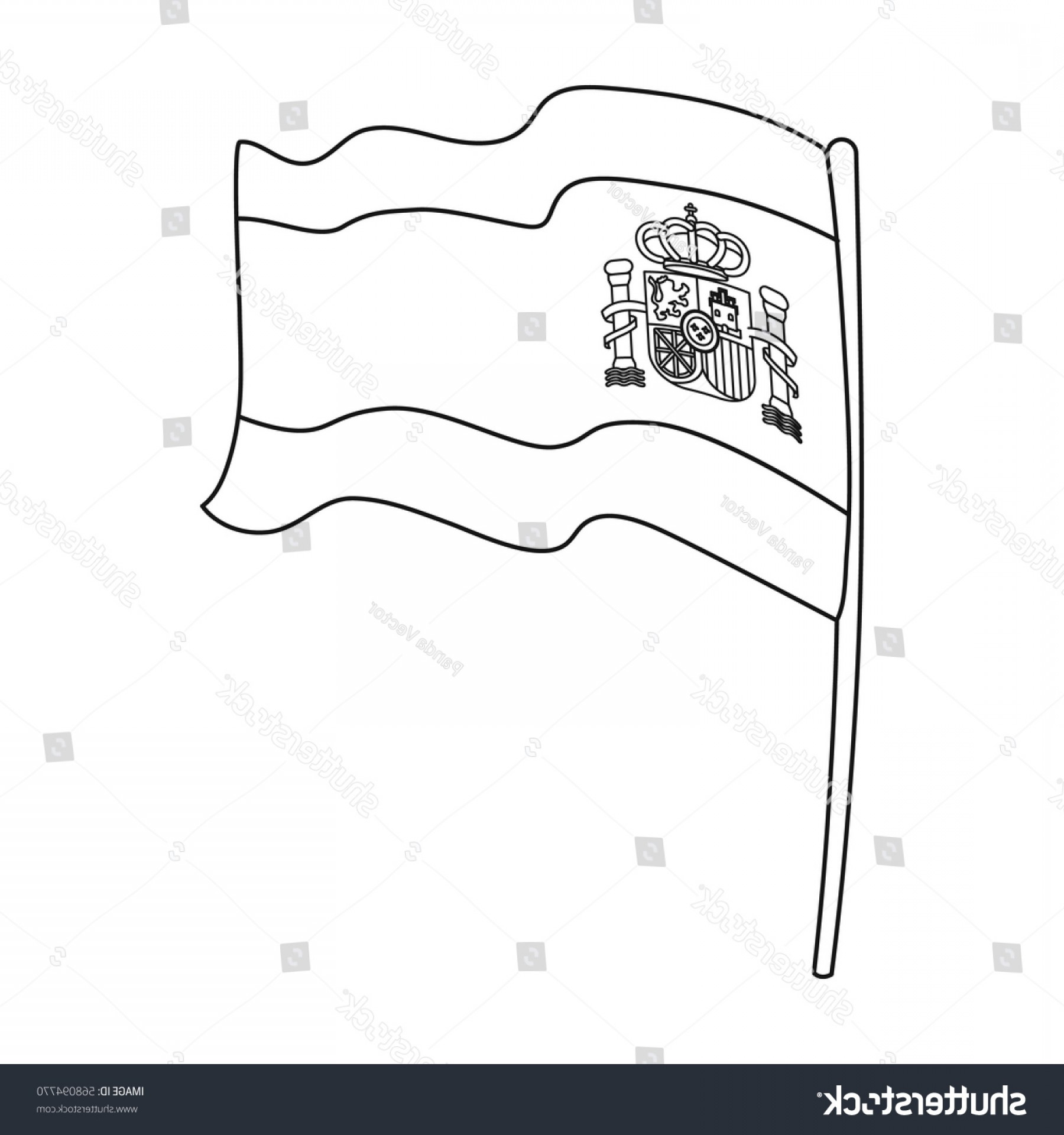 Spain Outline Vector: Flag Spain Icon Outline Style Isolated