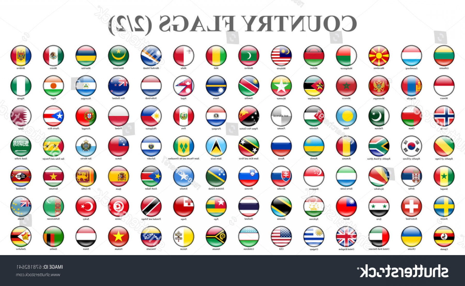 Vector Round Name List: Flags Countries Part Shiny Round