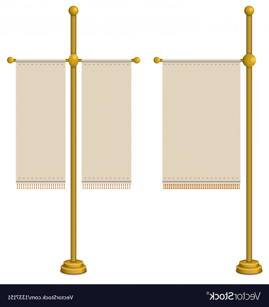 Vector Pole: Flags On Gold Pole Vector