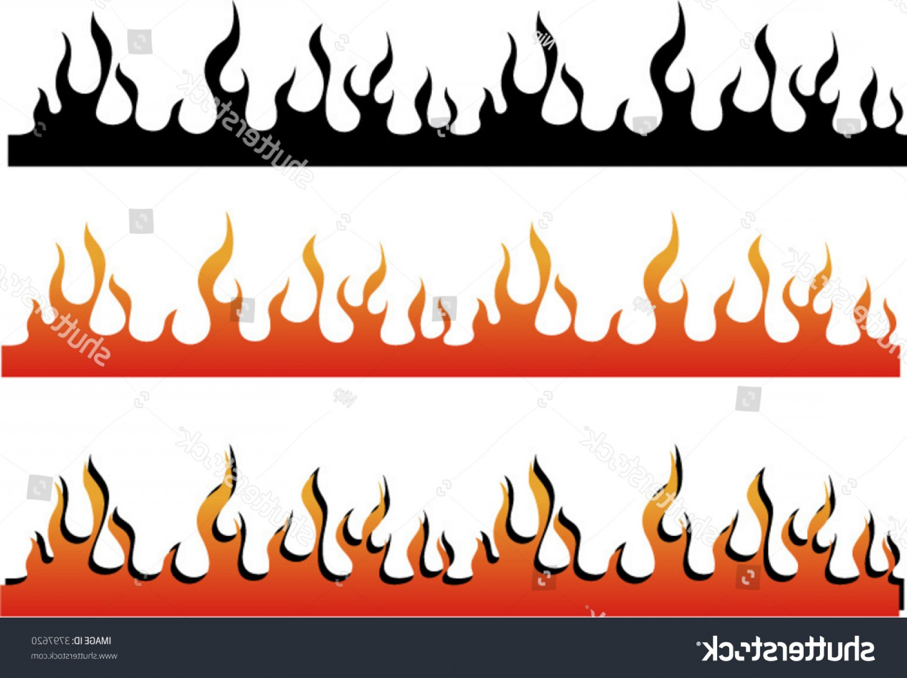 Harley-Davidson Flame Vector Silhouette: Flame Border Can Be Used Illustrator