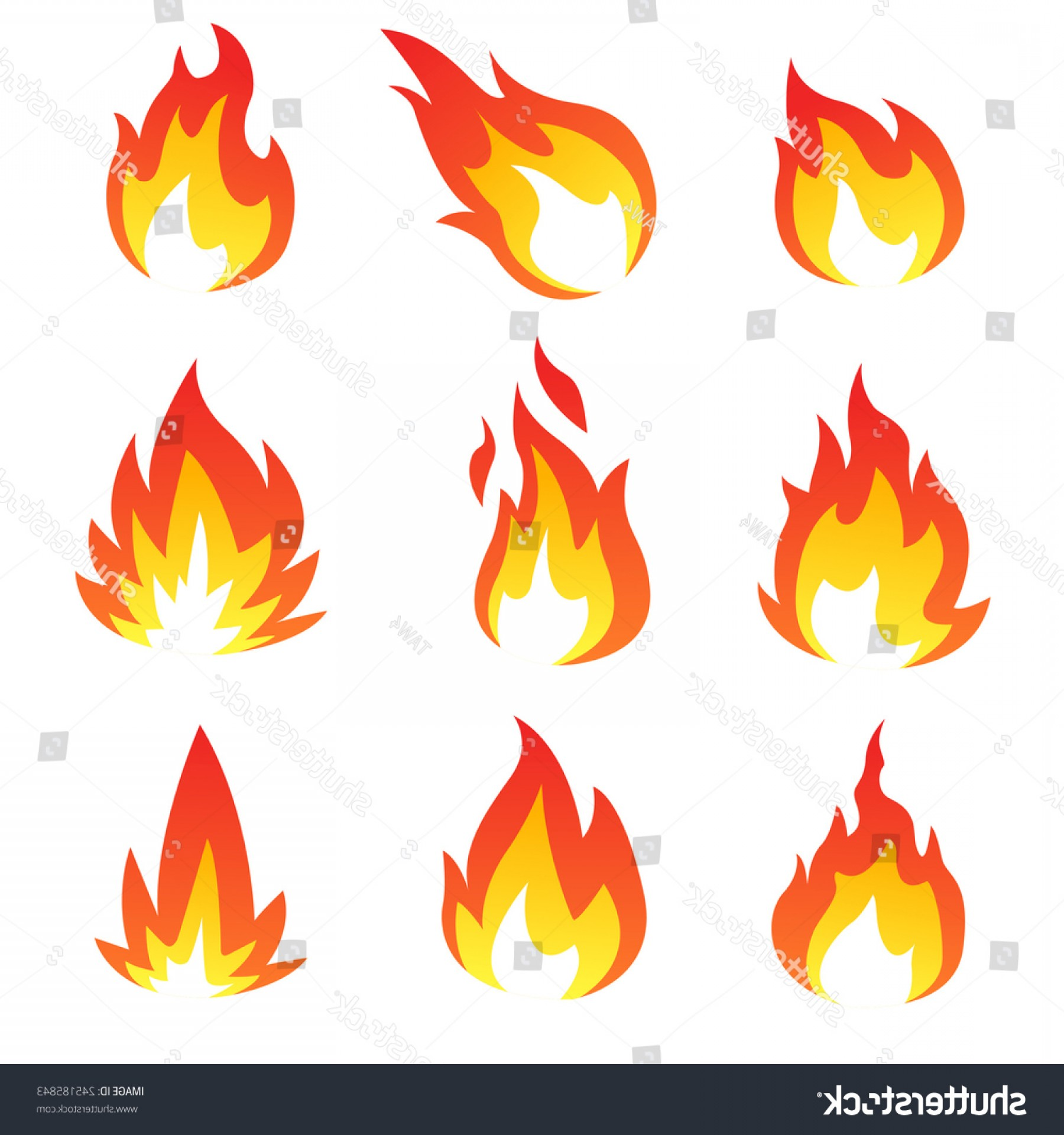 Fire Clip Art Vector: Flame Collection Vector Art Illustration