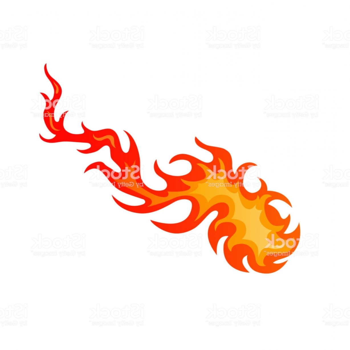 Vector Flame Stick Pattern: Flames Of Fire On Blazing Fireball Or Fiery Comet Gm