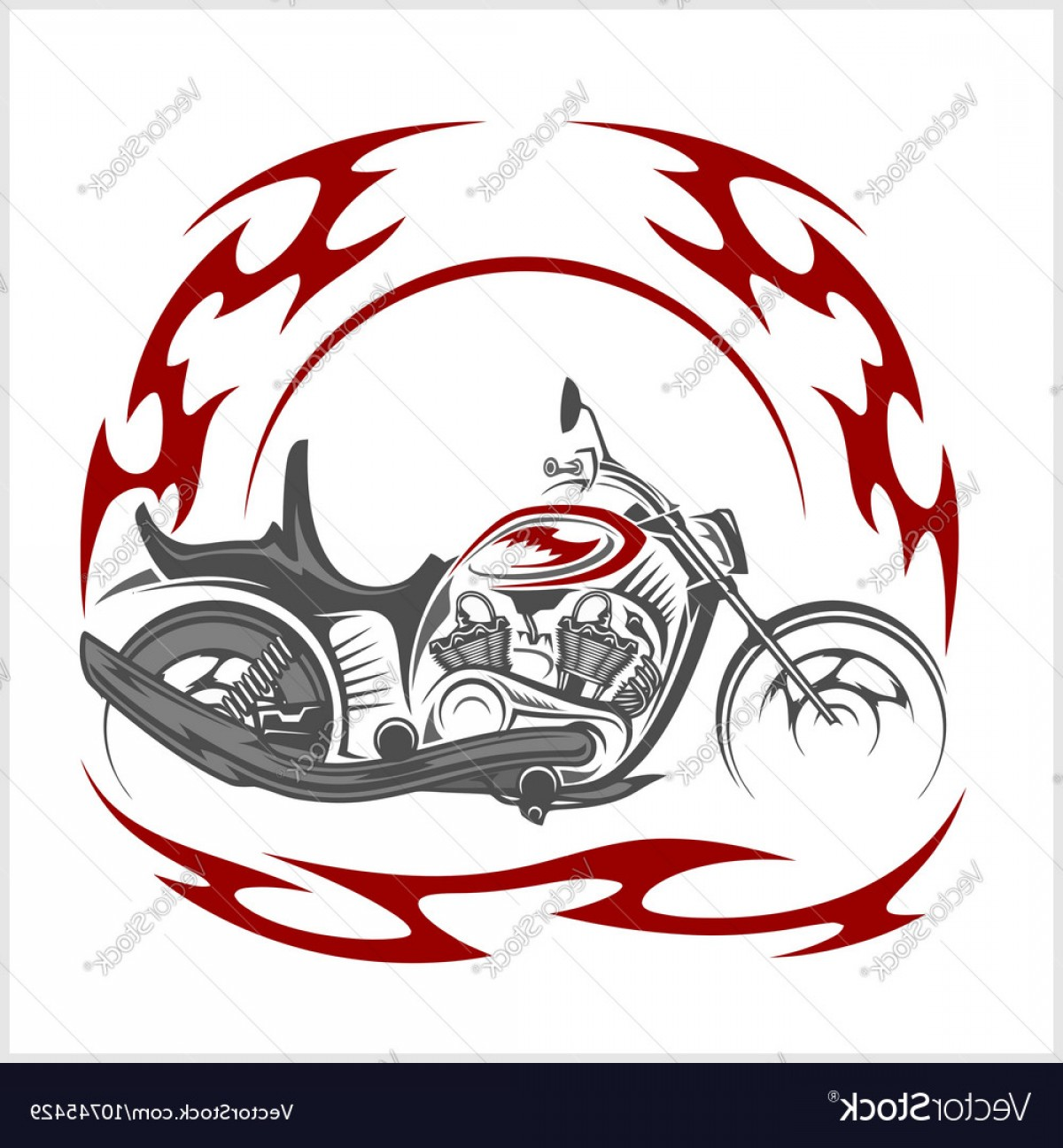 Tribal Flames Vector Car: Flaming Bike Retro Chopper And Tribal Flame Vector