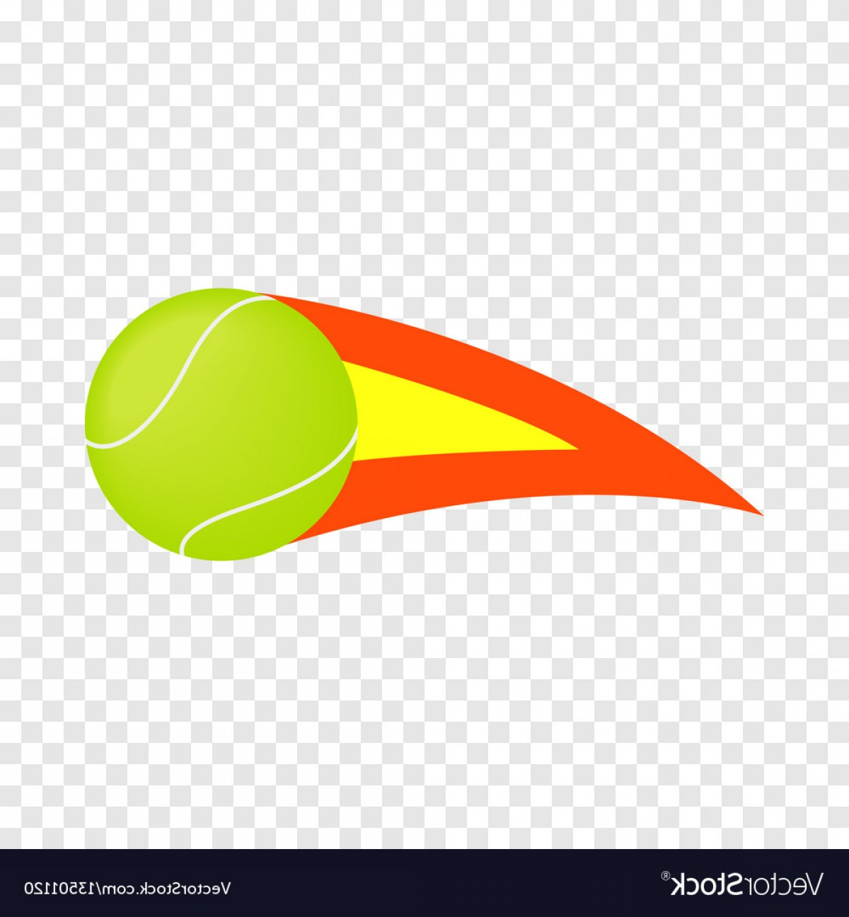 Flaming Tennis Ball Vector Art: Flaming Tennis Ball Isometric Icon Vector