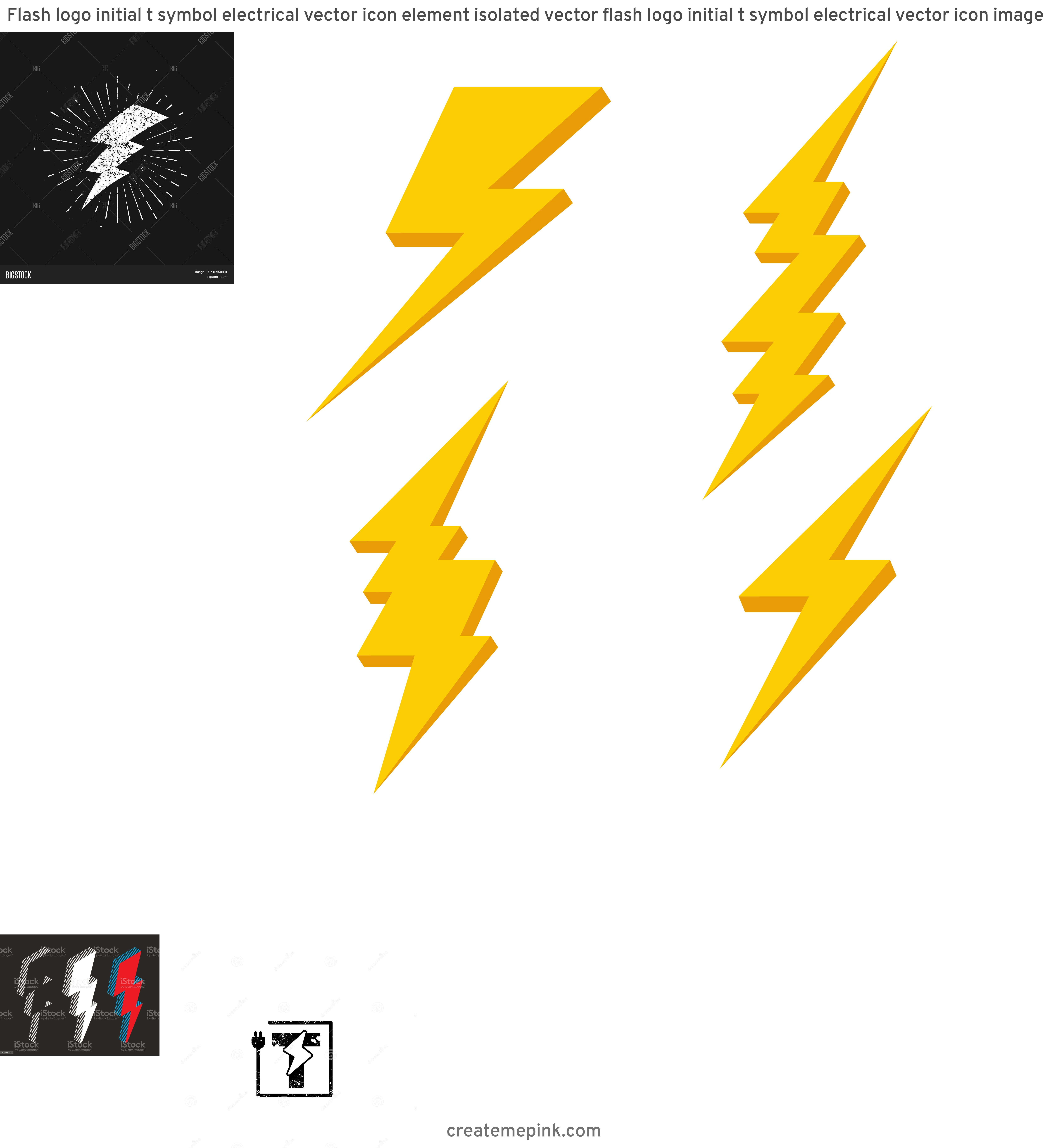 Lightning Vector T: Flash Logo Initial T Symbol Electrical Vector Icon Element Isolated Vector Flash Logo Initial T Symbol Electrical Vector Icon Image