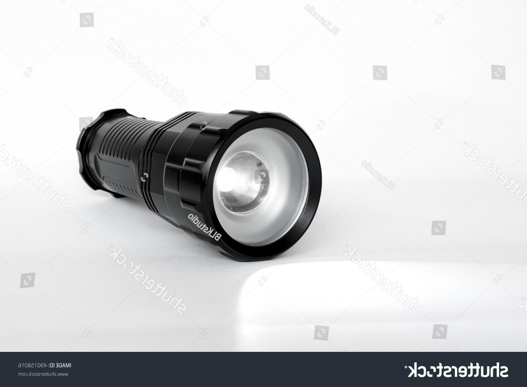 Vector Inflator Compressor Flashlight: Flashlight Isolated On White Colored Background