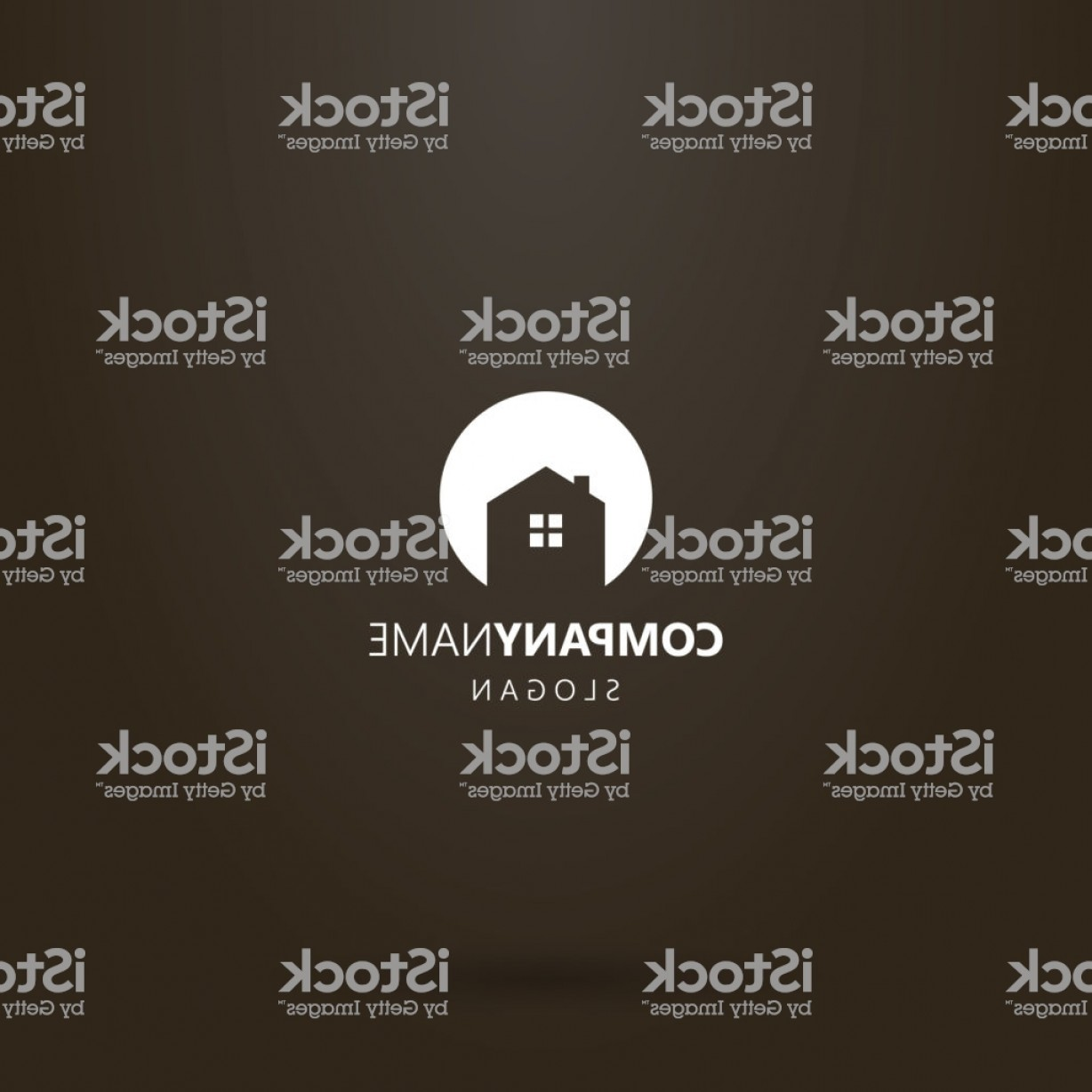 Art Space Logo Vector: Flat Art Vector Round Negative Space Logo Of A Private House Gm